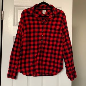 J Crew Perfect Fit flannel button up (halfway up)